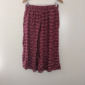 GAP Pull On Crop Wide Leg Pants Burgundy size XSP